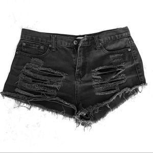 Distressed Black Denim High Waisted Shorts
